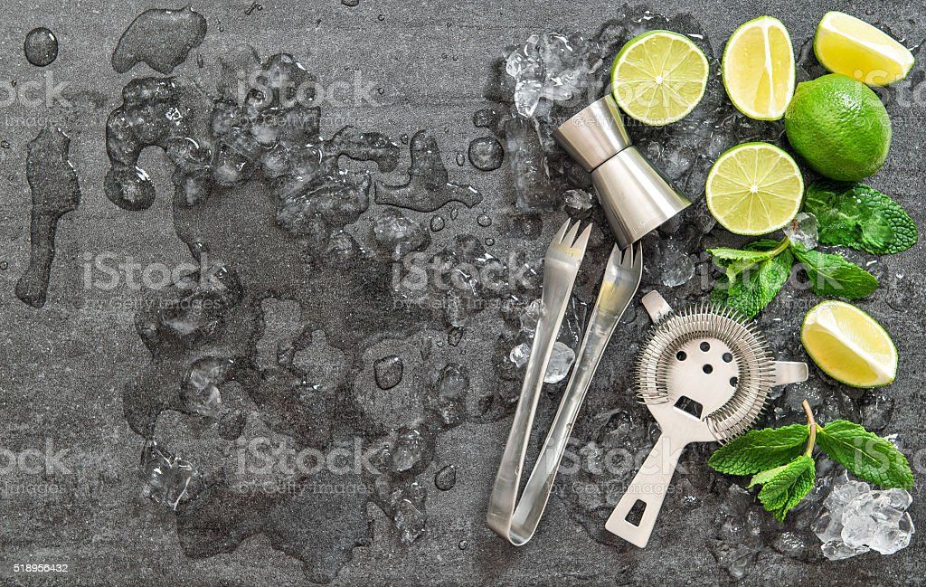 Cocktail drink making tools and ingredients ice stock photo