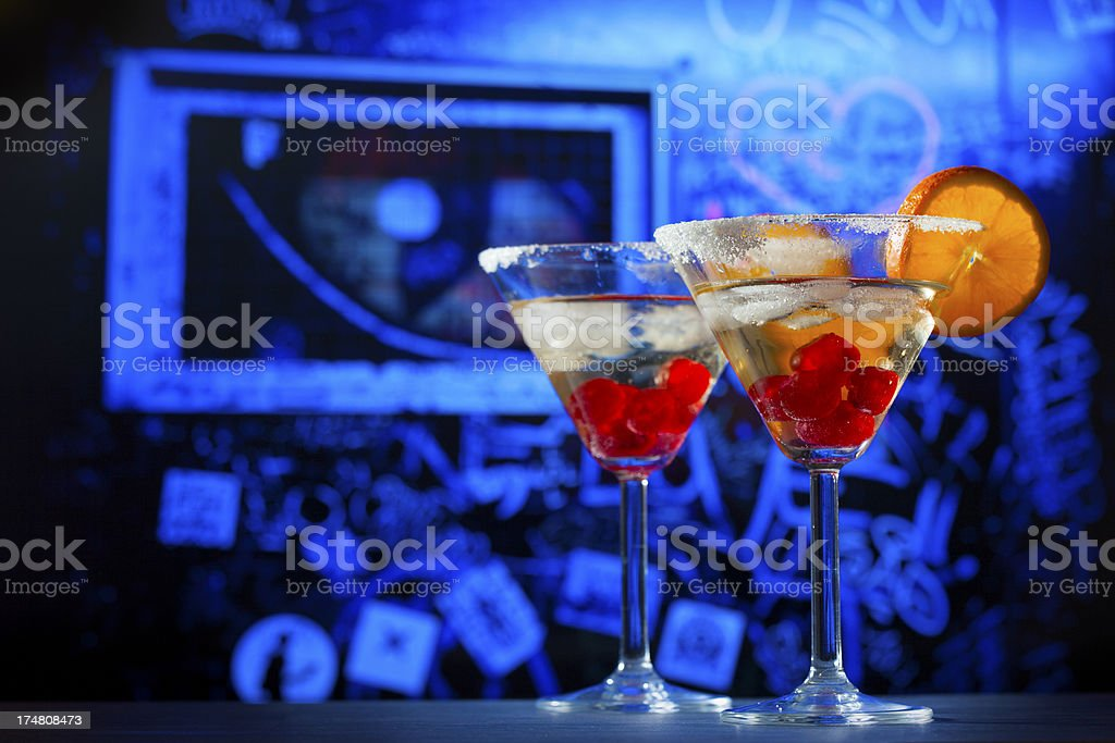 Cocktail drinks at music club bar royalty-free stock photo