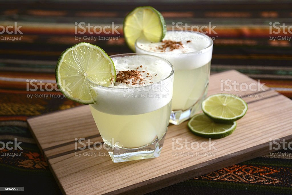 Cocktail from Chile and Peru: Pisco Sour stock photo
