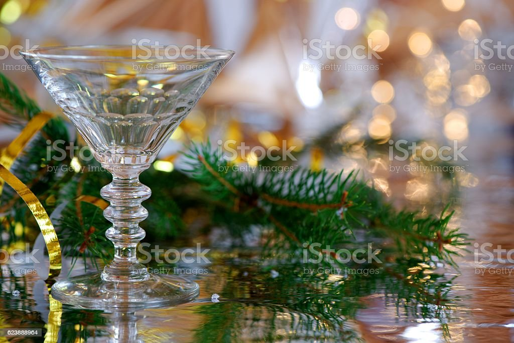 Cocktail glass with Christmas decoration stock photo