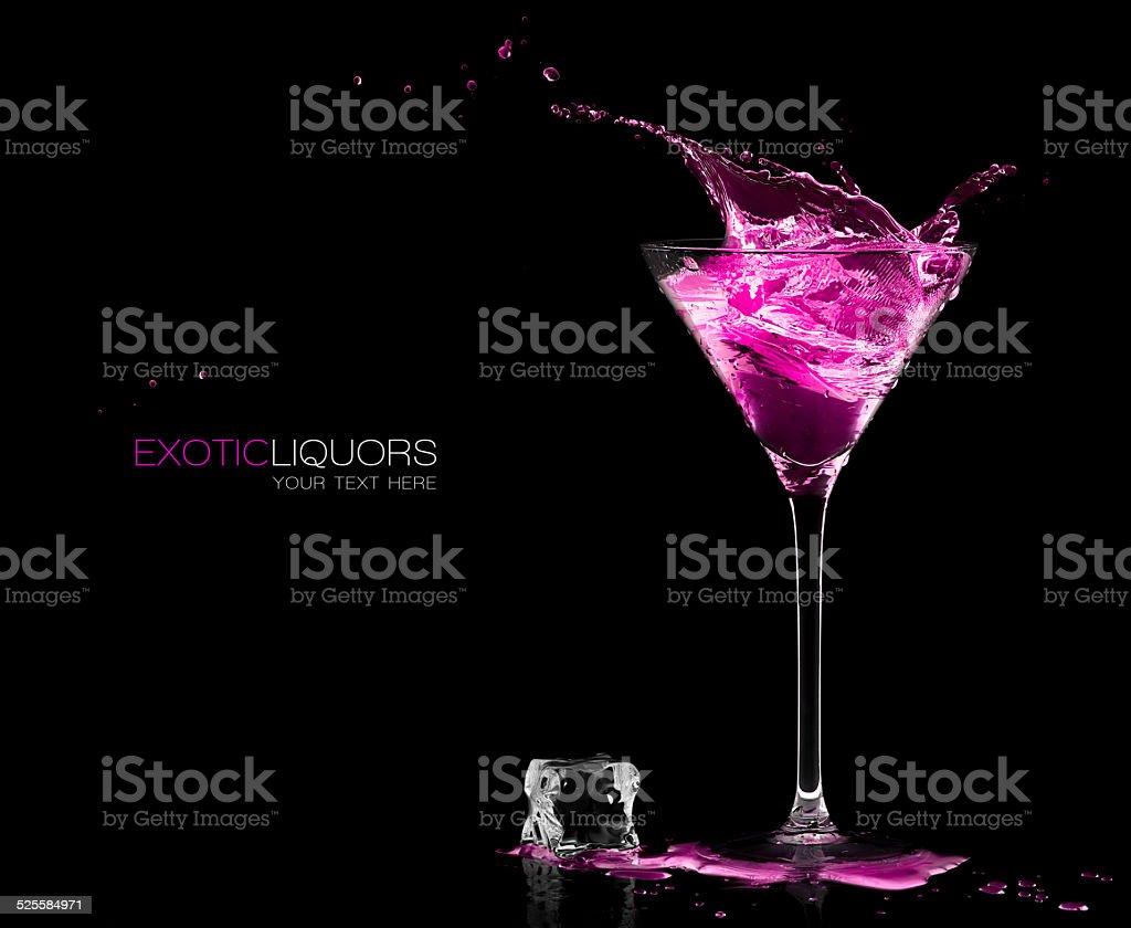 Cocktail Glass with Strawberry Spirit Drink Splashing. Template Design stock photo