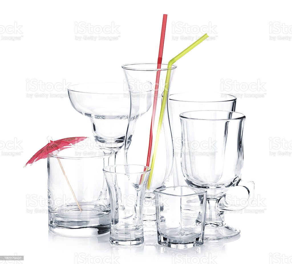Cocktail glasses with drinking straws and umbrella royalty-free stock photo
