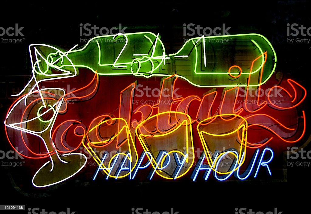 Cocktail Happy Hour Neon royalty-free stock photo