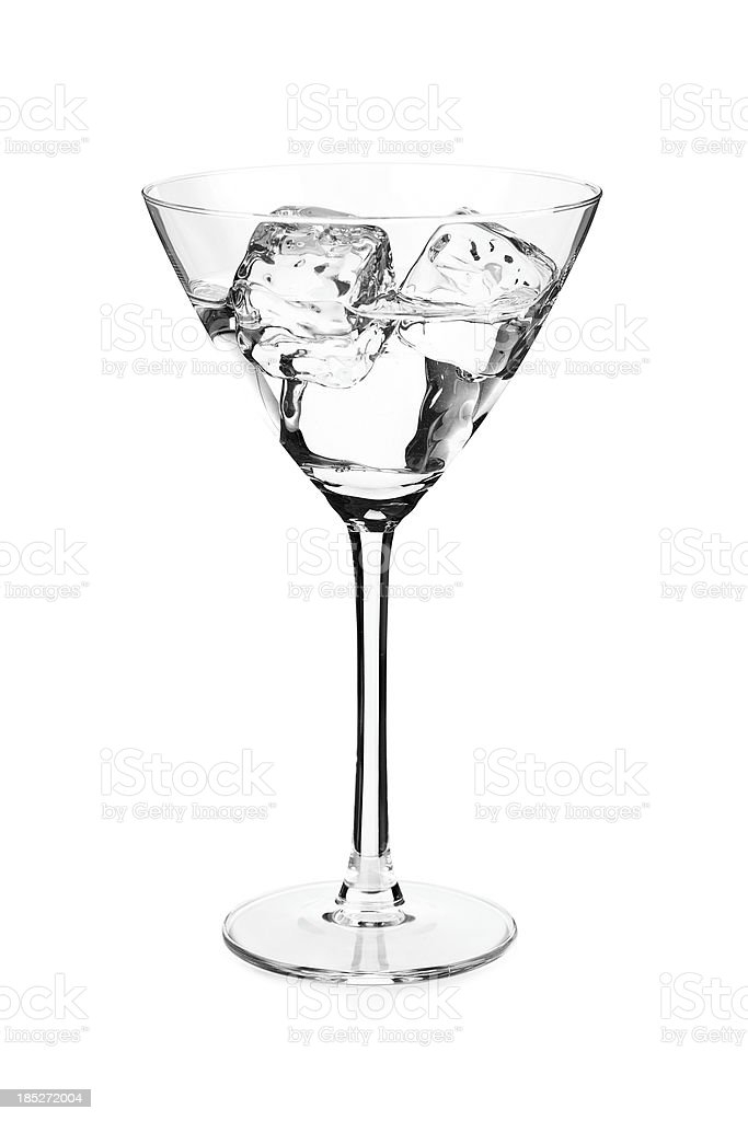 Cocktail in martini glass with ice stock photo