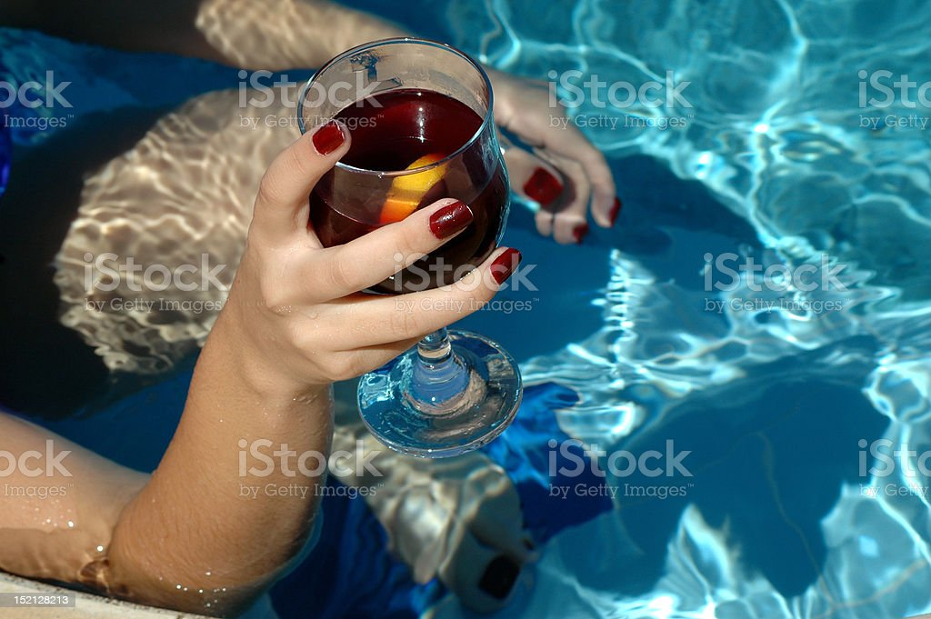 cocktail in swimming pool royalty-free stock photo