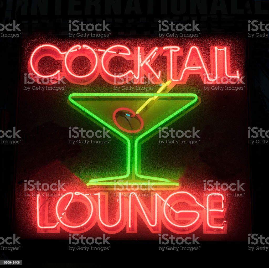 Cocktail Lounge Martini Neon Sign stock photo