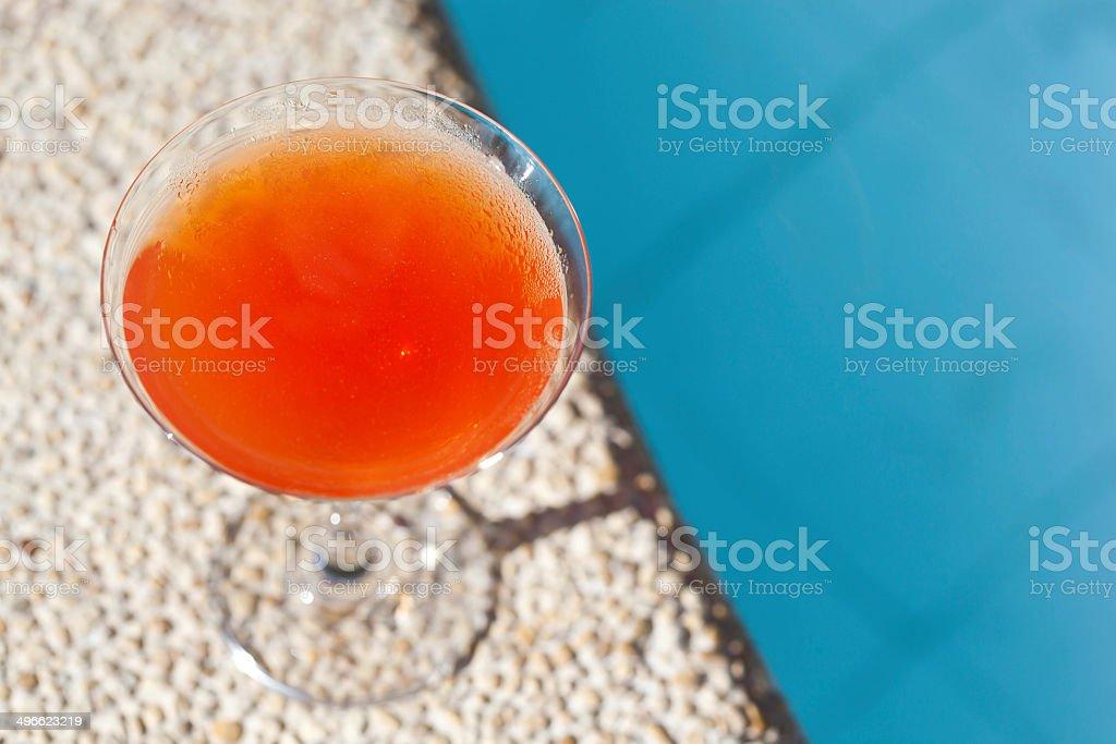 Cocktail Margarita near swim pool stock photo