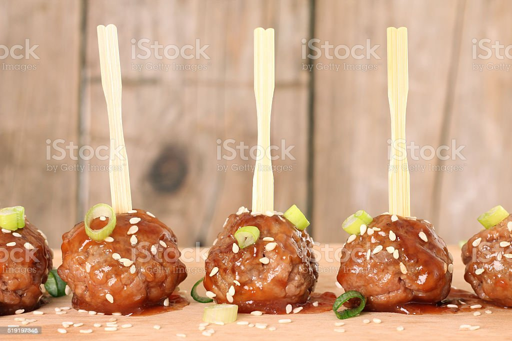 Cocktail meatballs stock photo