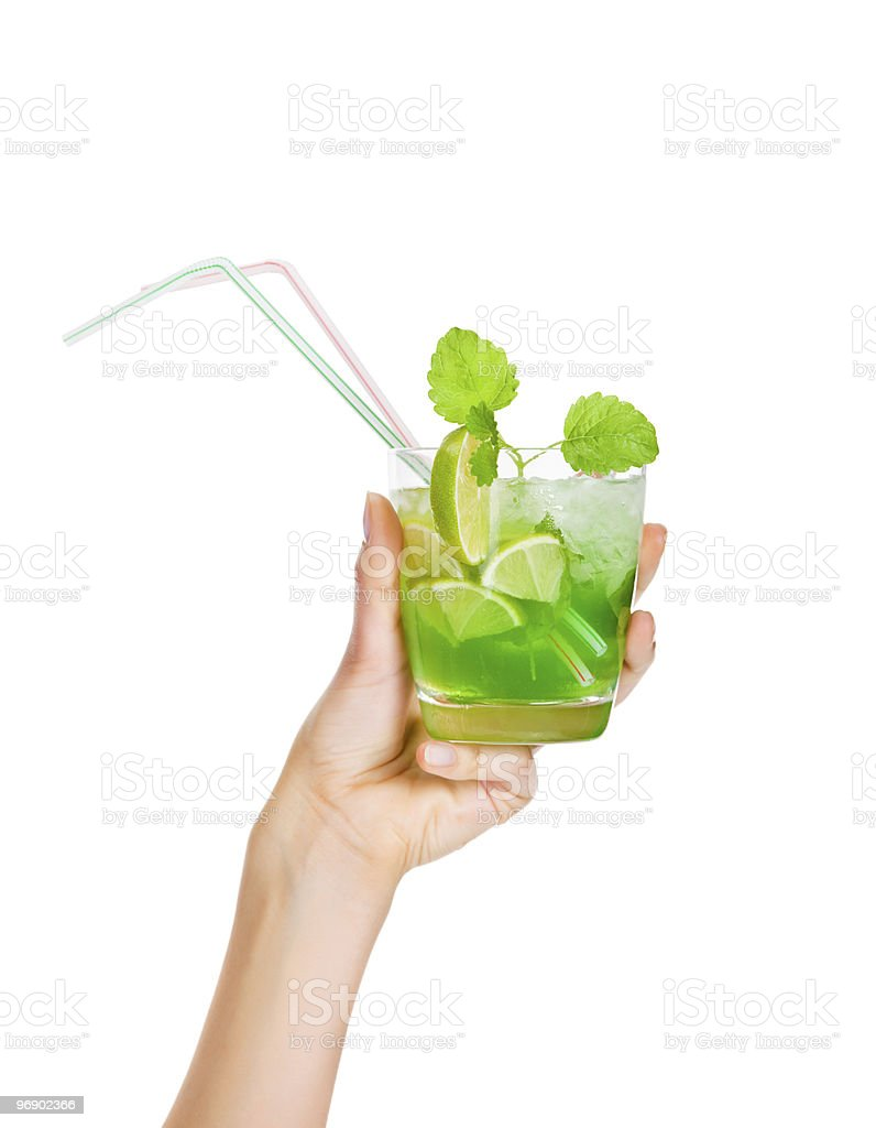Cocktail - Mojito with Fresh Mint and Lime Slice royalty-free stock photo