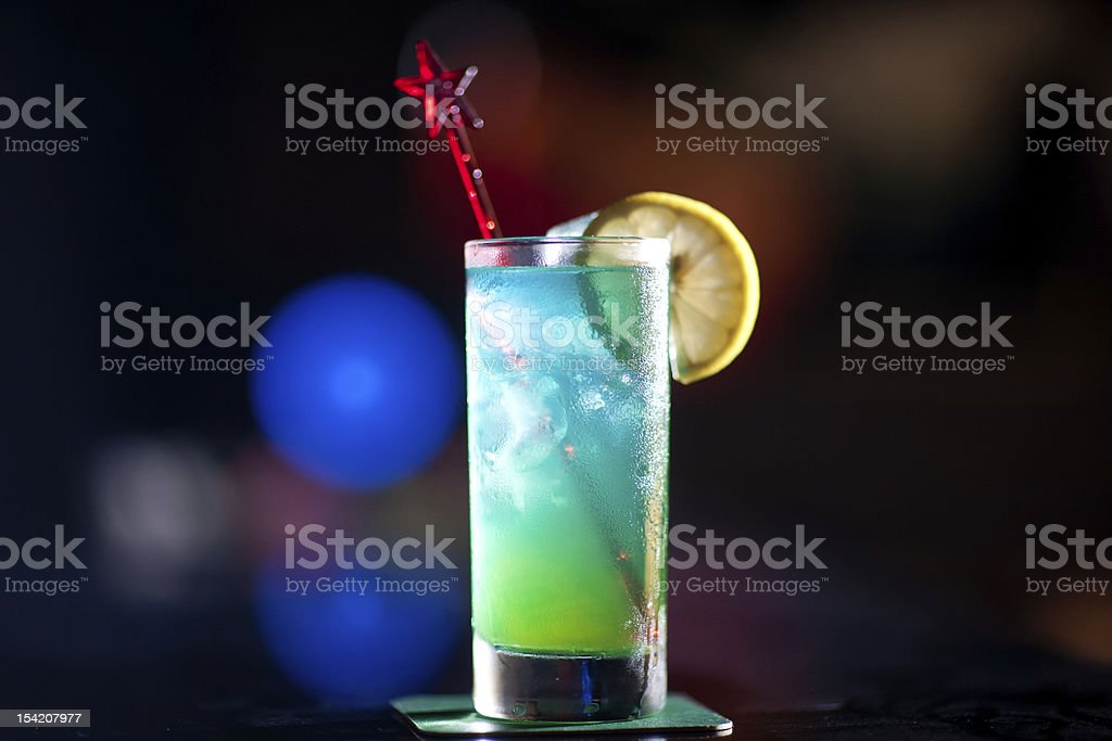 cocktail named BlueHawaii  in the bar stock photo