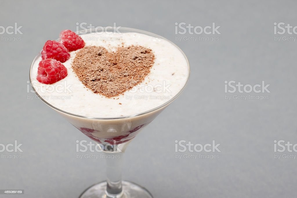 Cocktail of banana, raspberry and chocolate. royalty-free stock photo