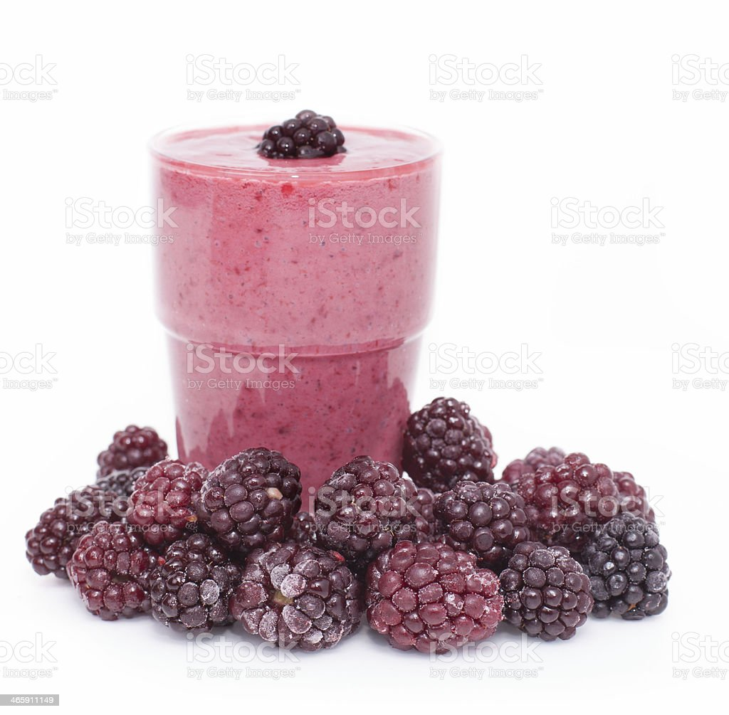 Cocktail of frozen blackberries   with yogurt . royalty-free stock photo