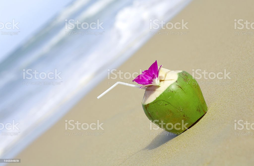cocktail on beach royalty-free stock photo