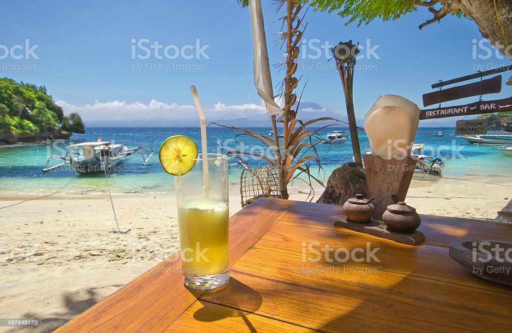 Cocktail on beach stock photo