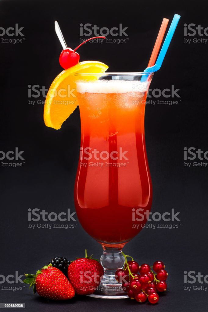 cocktail on black background stock photo