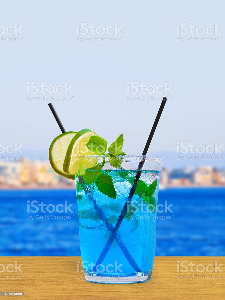 Cocktail on table in cafe royalty-free stock photo