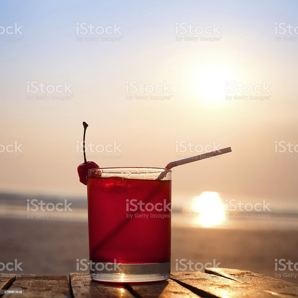 cocktail on the beach stock photo