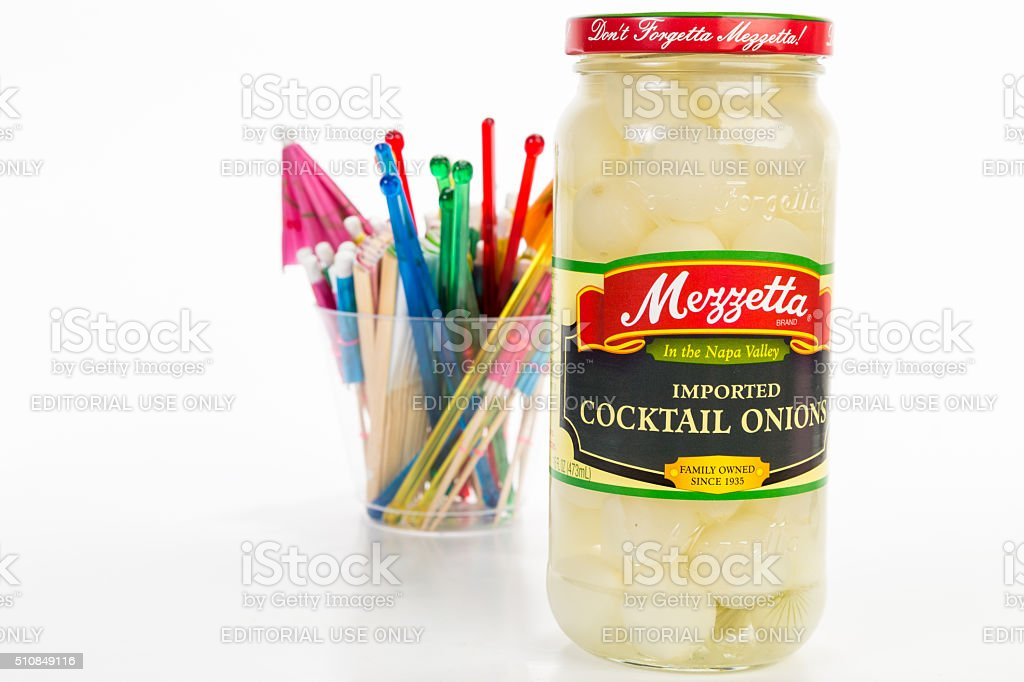 Cocktail Onions with Bartending Accessories stock photo