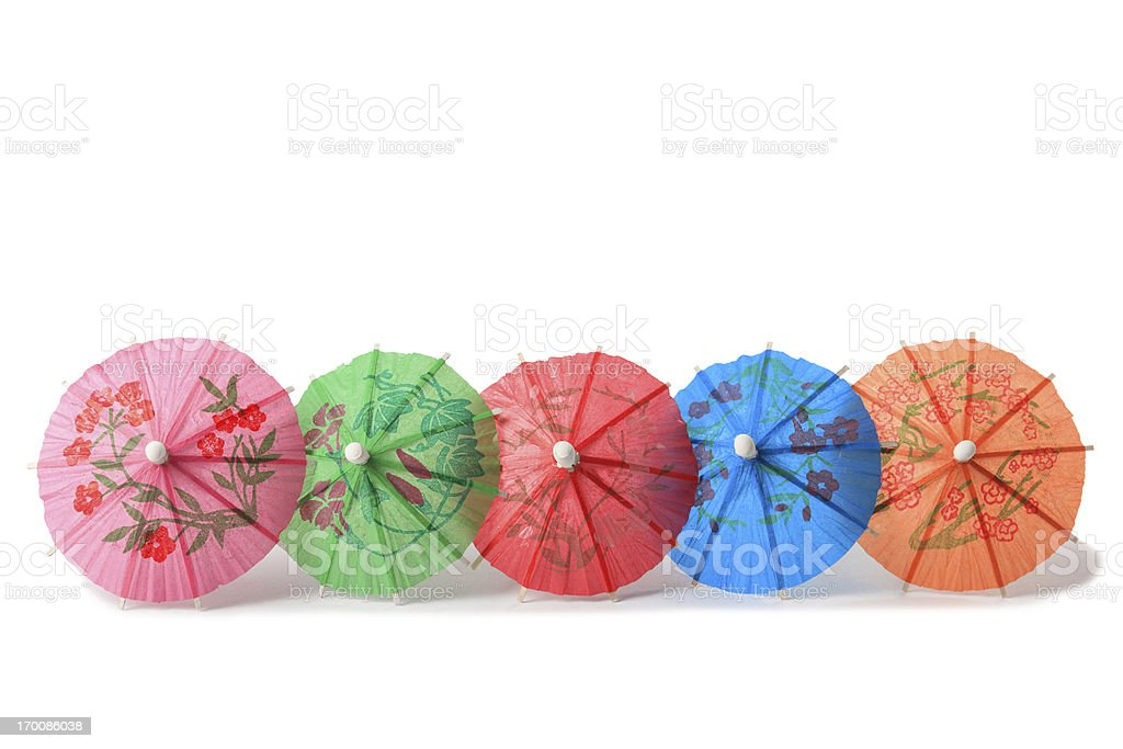 cocktail paper umbrellas stock photo