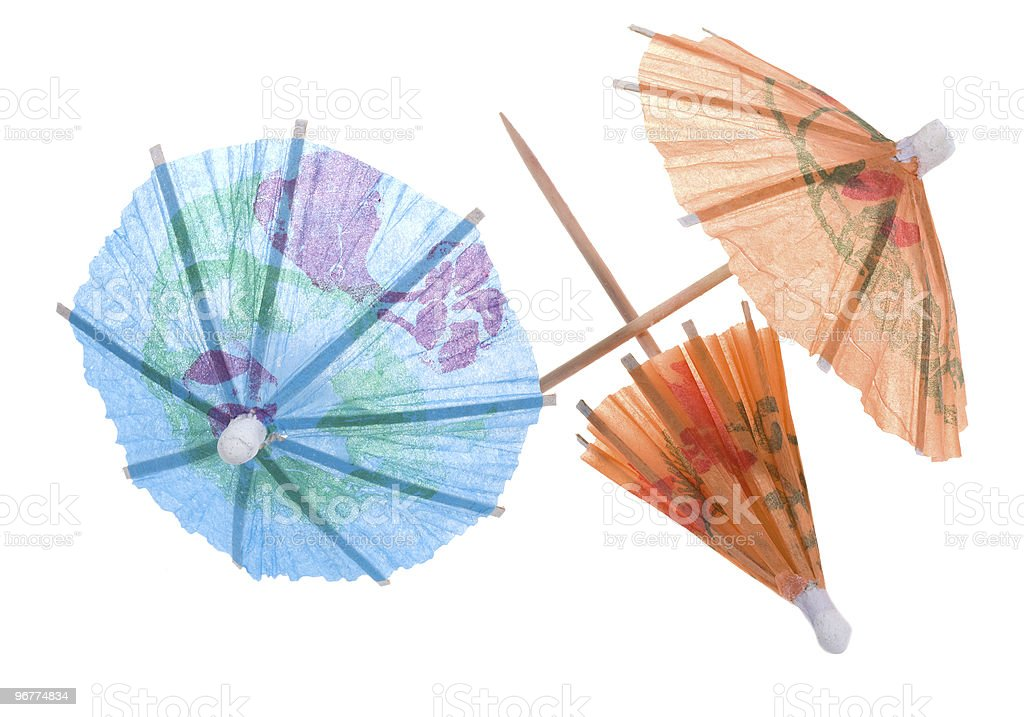 cocktail paper umbrellas stock photo