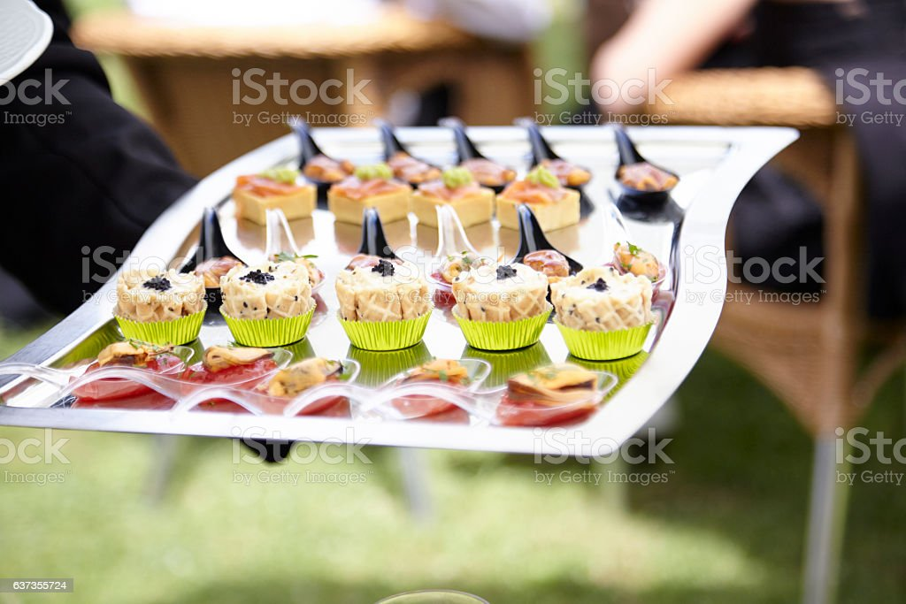 Cocktail Party Food with Mussels and Caviar (Haute Cuisine) stock photo
