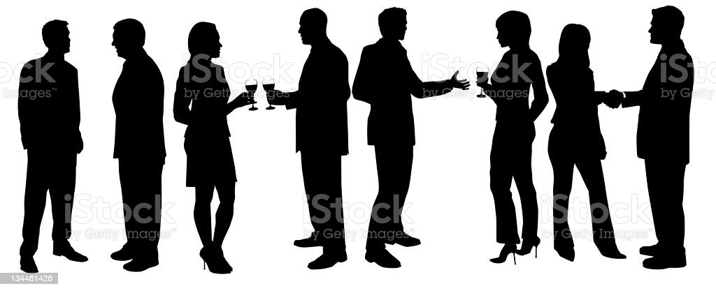 Cocktail Party Silhouettes stock photo
