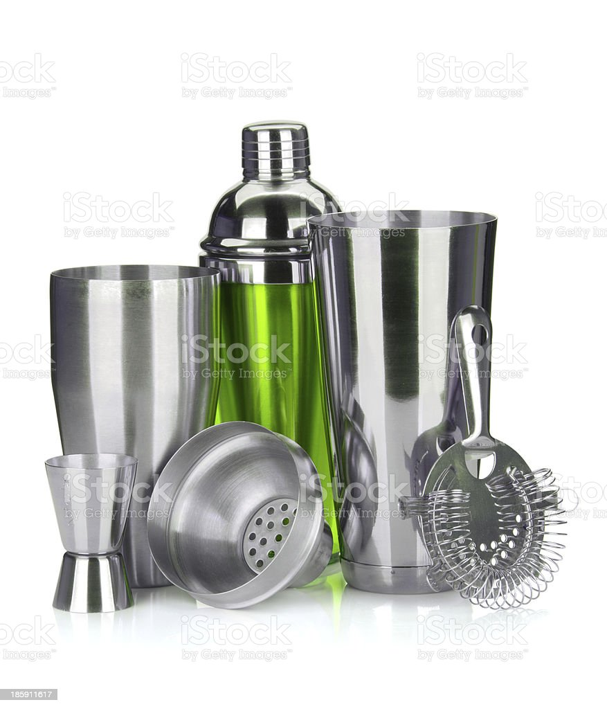 Cocktail shaker, strainer, measuring cup royalty-free stock photo