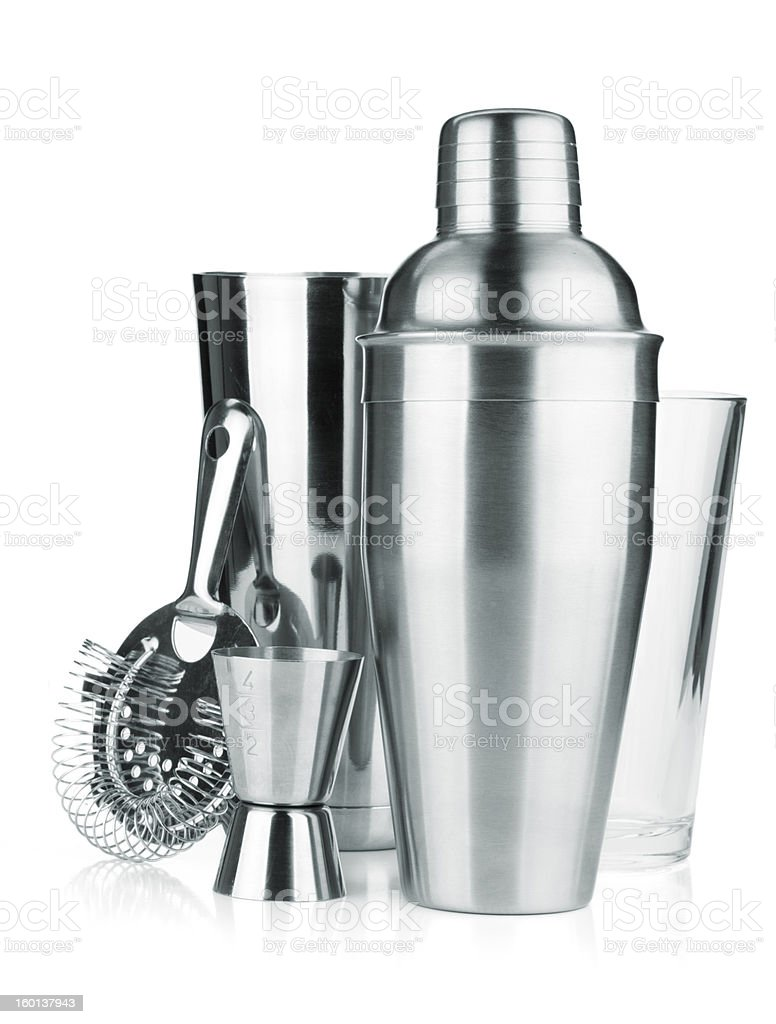Cocktail shakers, strainer and jigger stock photo