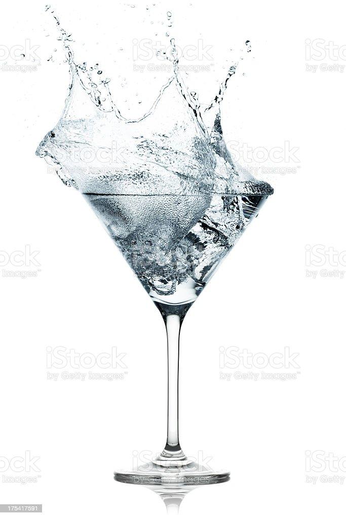 Cocktail Splash - Ice Cube Martini Drink Glass royalty-free stock photo