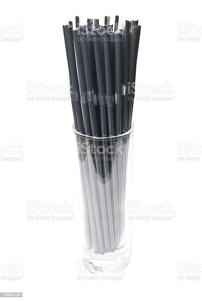 Cocktail straws in glass royalty-free stock photo