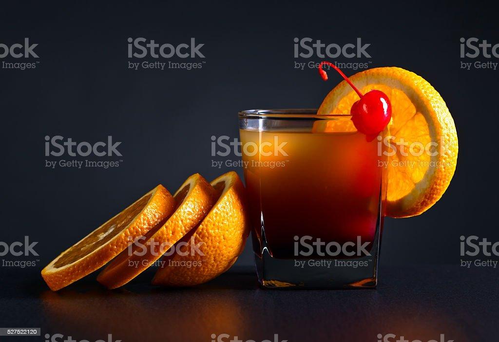 cocktail Tequila sunrise and orange stock photo