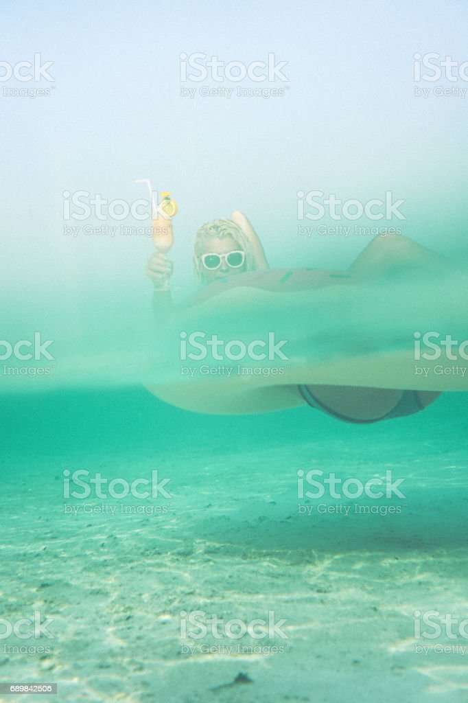 Cocktail time in the ocean, Maldives stock photo