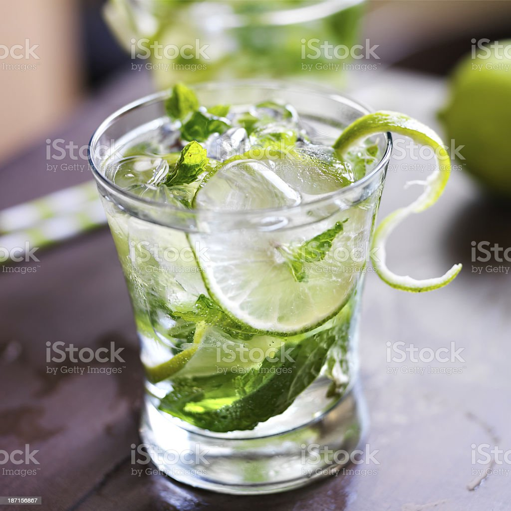 cocktail - two cold mojitos stock photo