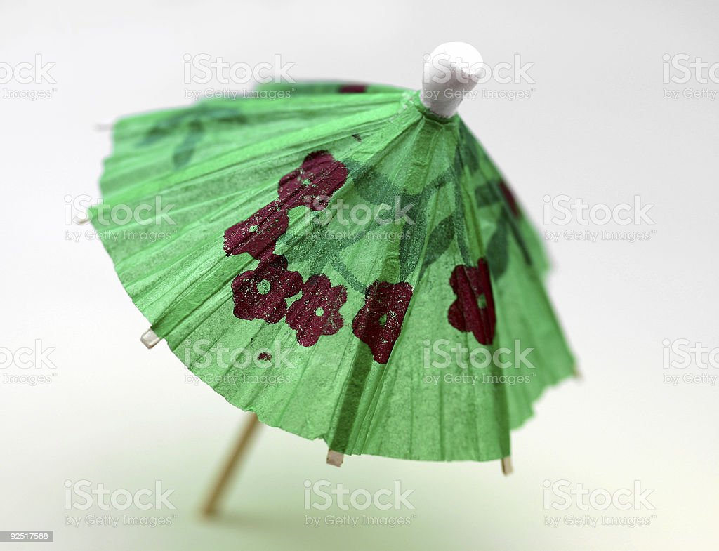 cocktail umbrella, green royalty-free stock photo