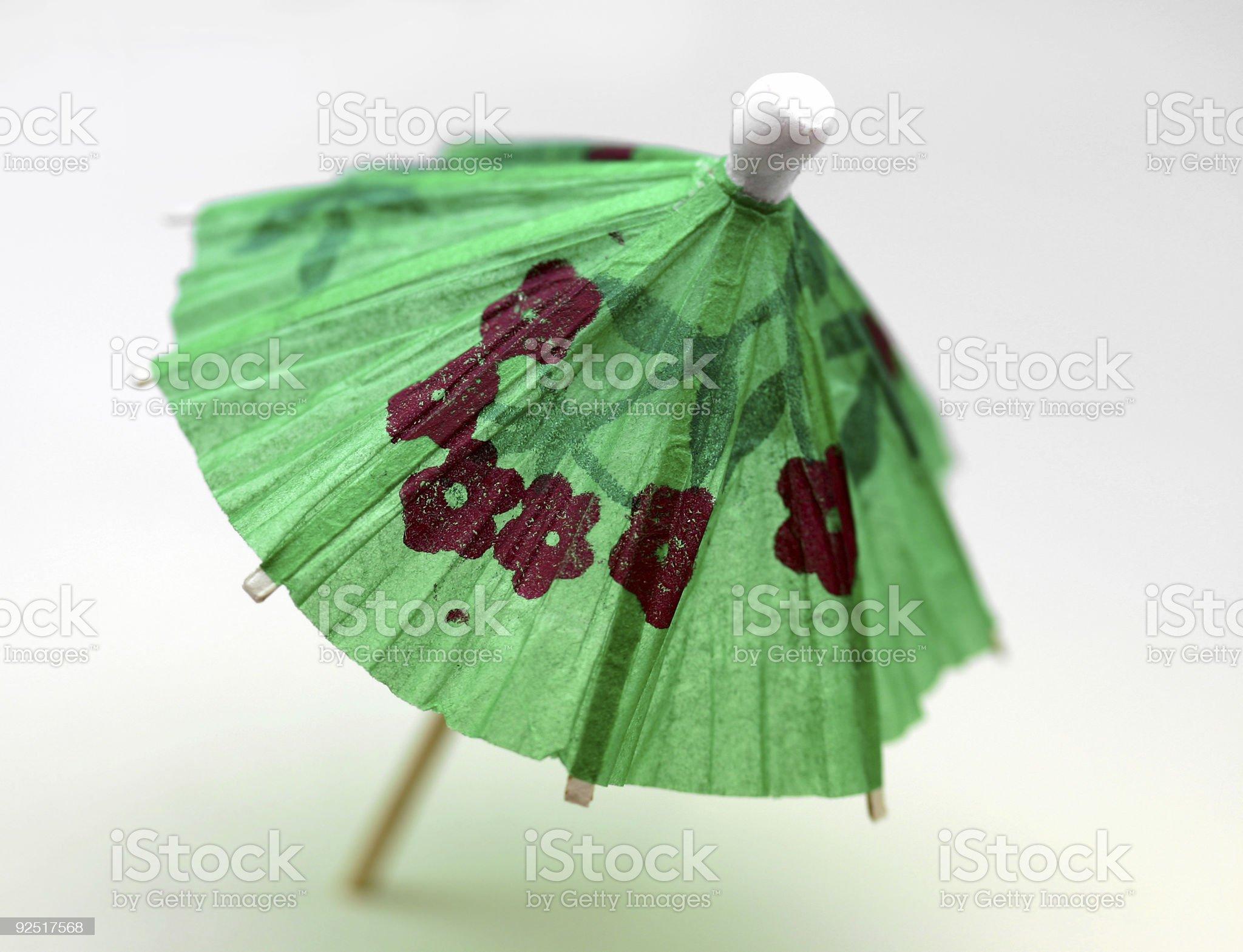 cocktail umbrella, green royalty-free stock photo