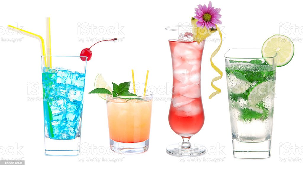Cocktail variation row with alcohol royalty-free stock photo