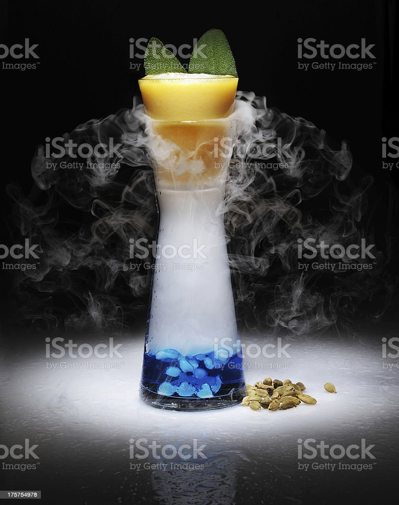cocktail very impressive with dry ice and smoke royalty-free stock photo