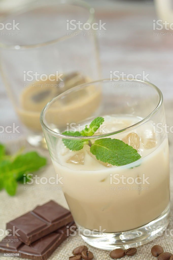 Cocktail with Baileys liqueur, cream and ice stock photo
