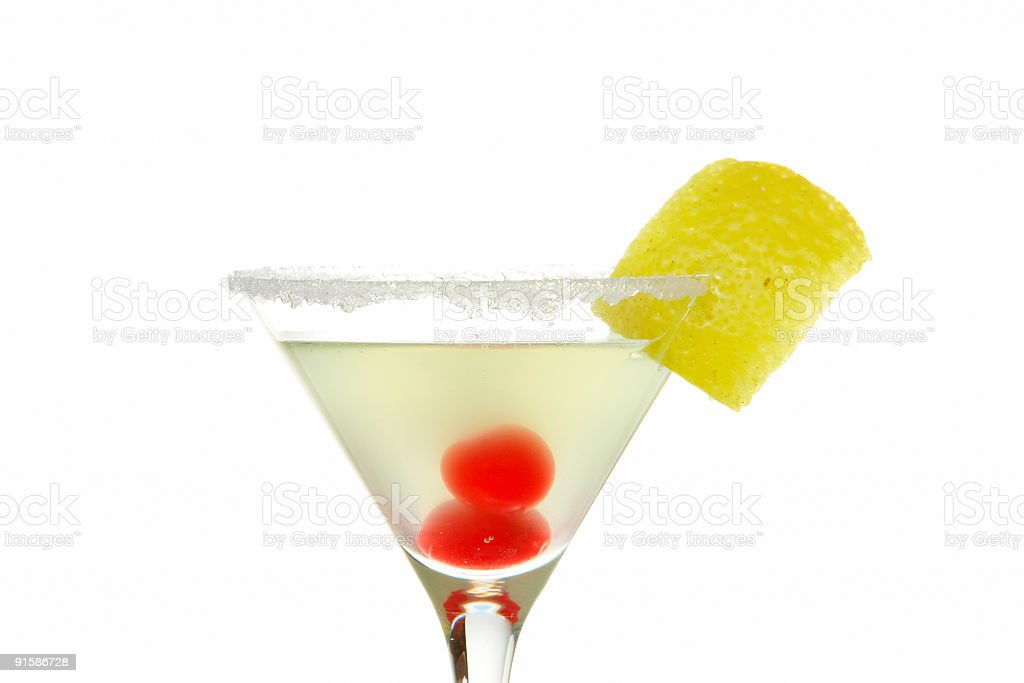 Cocktail with cherries detail royalty-free stock photo