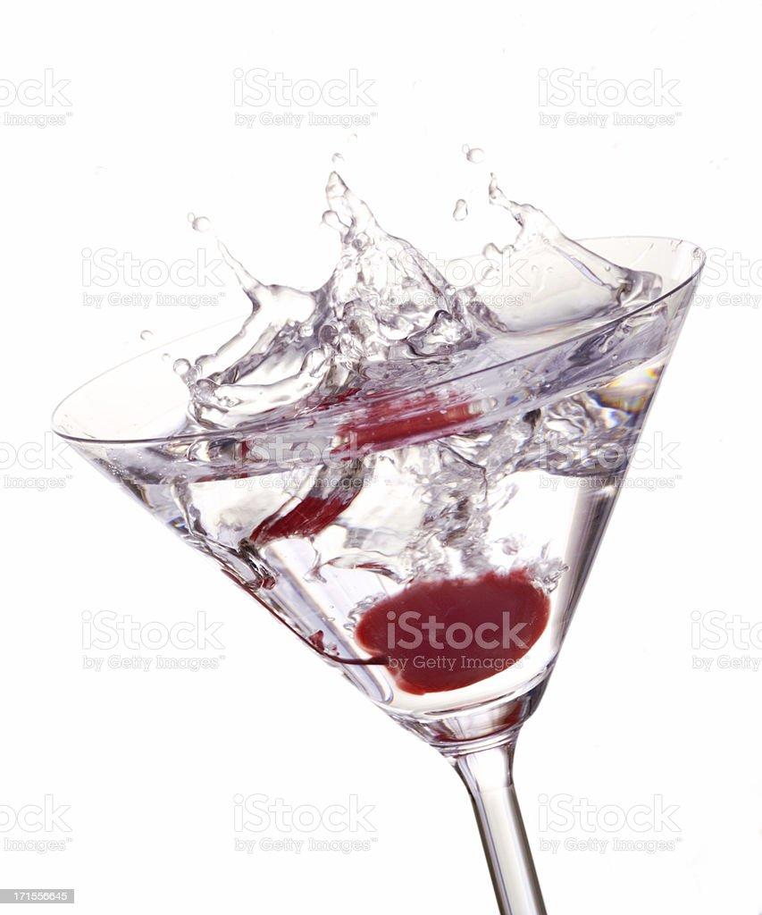 Cocktail with Cherry Splash royalty-free stock photo