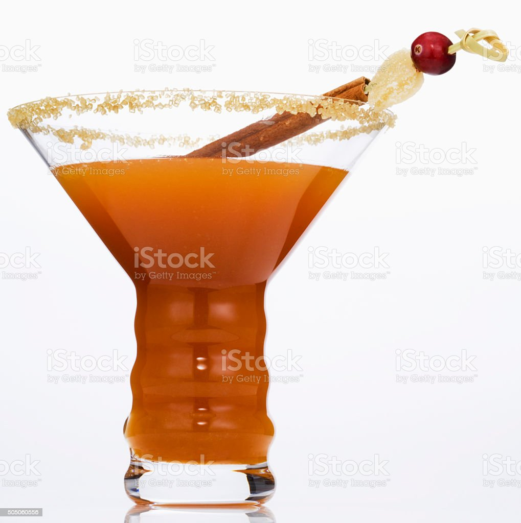 Cocktail with cinammon stick stock photo