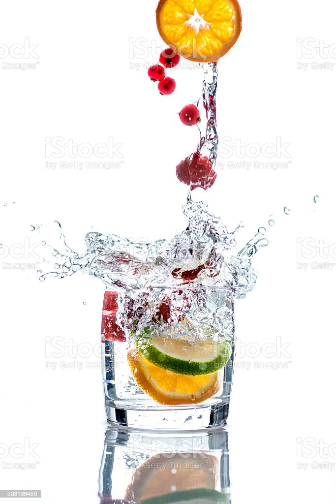 Cocktail with fresh  fruit stock photo