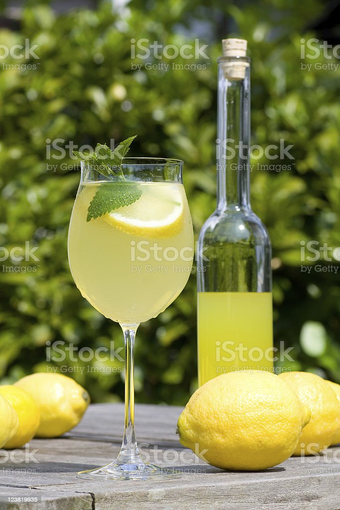 Cocktail with lemon slices and balm royalty-free stock photo