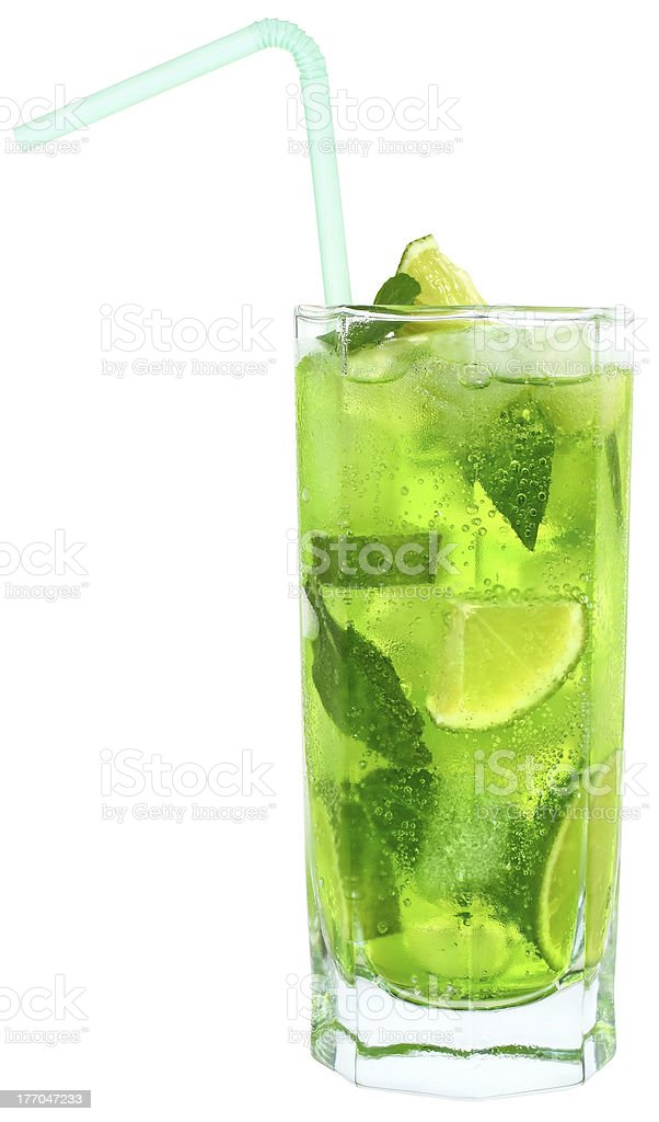 Cocktail with lime and mint isolated royalty-free stock photo