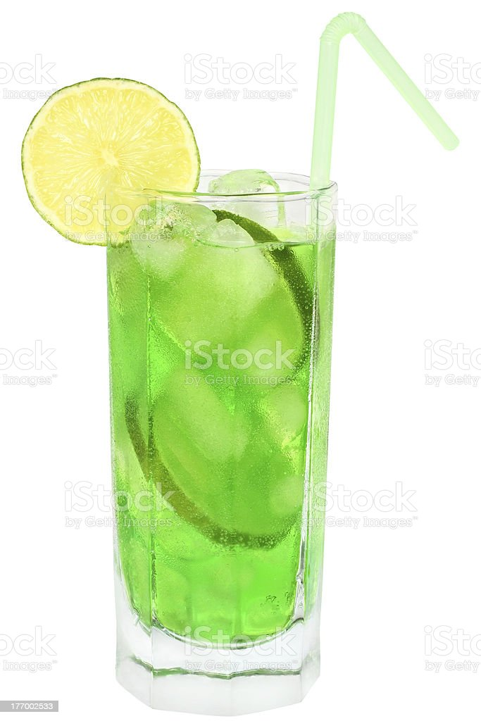 Cocktail with lime royalty-free stock photo