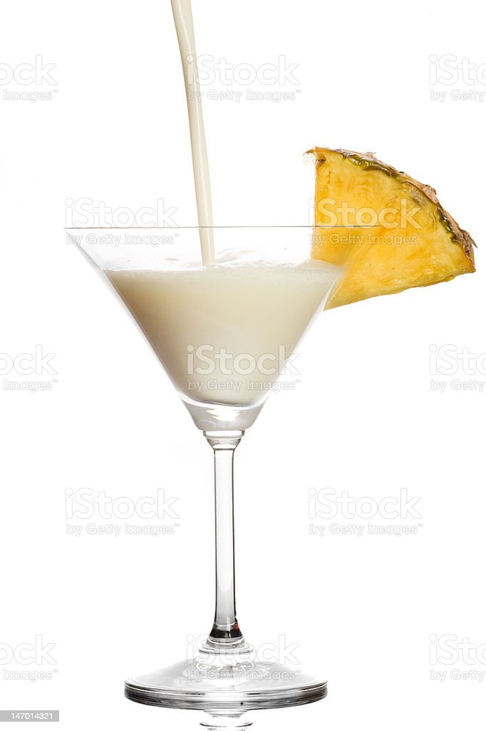 Cocktail with milk , pineapple juice and coconut liqueur royalty-free stock photo