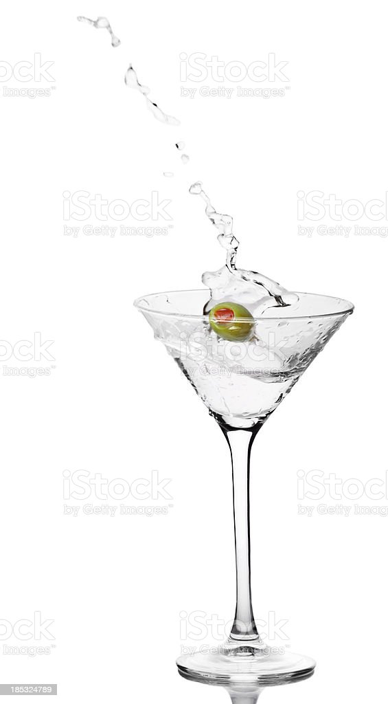 Cocktail with Olive Splash on white royalty-free stock photo
