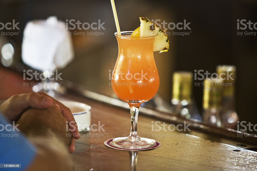 Cocktail with pineapple royalty-free stock photo