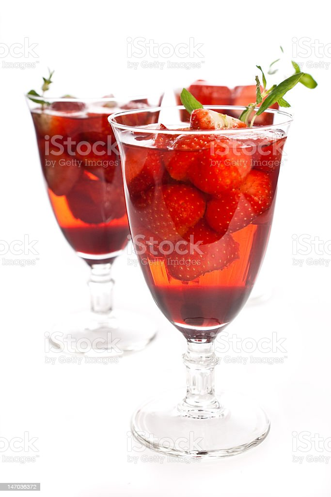 Cocktail with pink wine, liquor and a strawberry royalty-free stock photo
