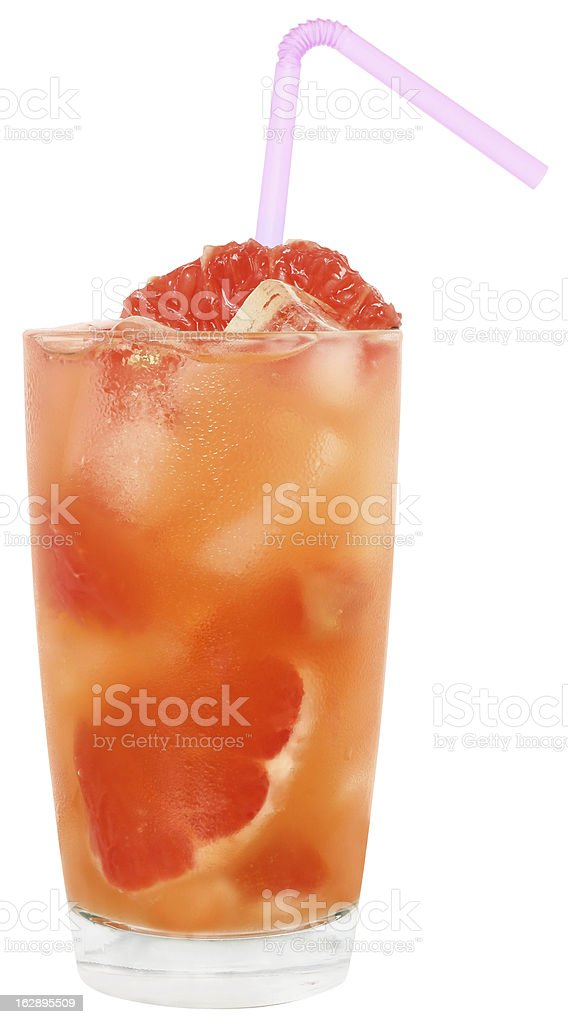 Cocktail with slices of grapefruit royalty-free stock photo